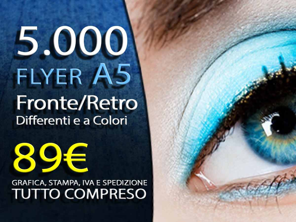5000 volantini flayer A5 fronte retro offset a colori 89 euro