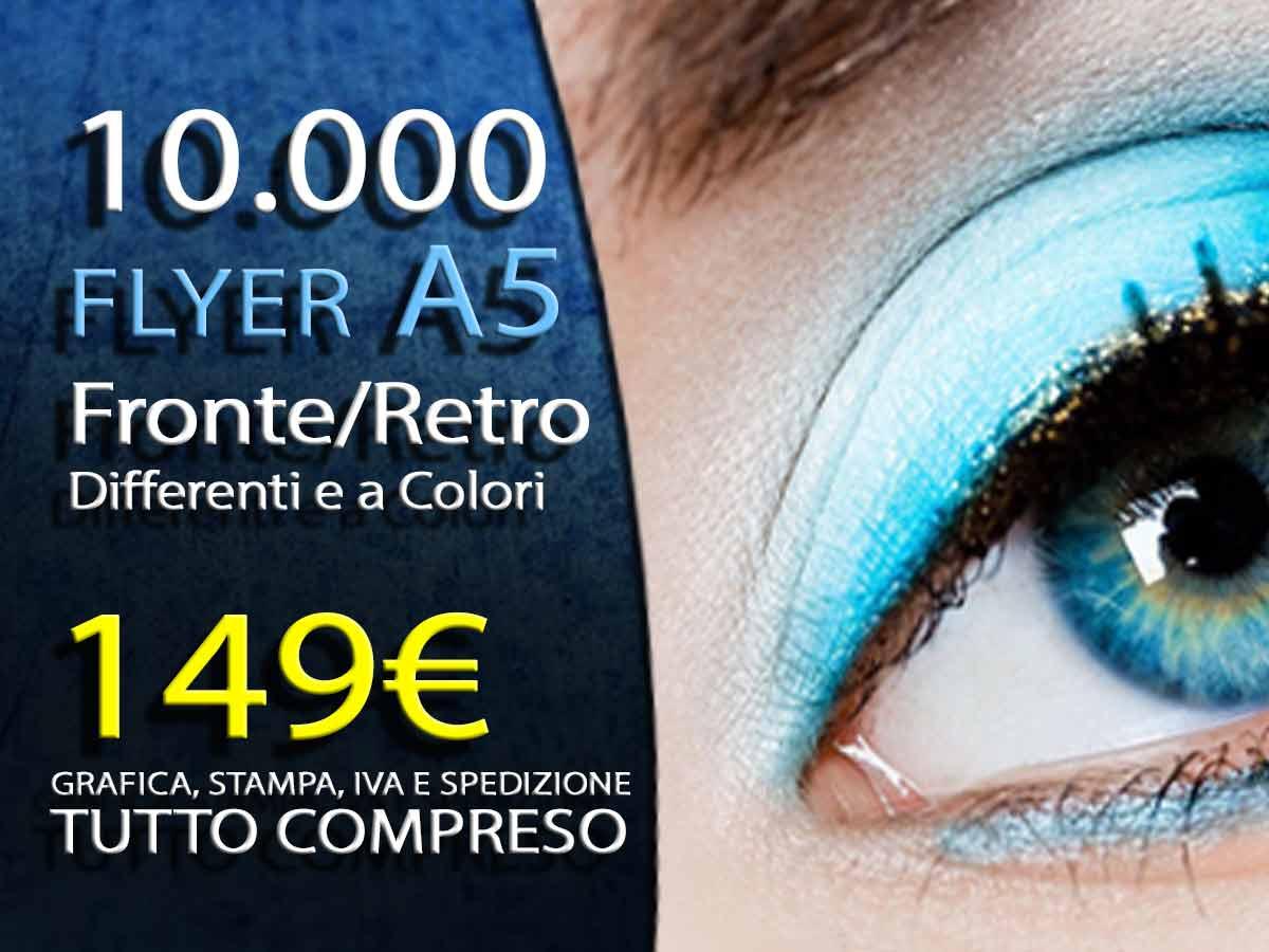 10000 volantini flayer A5 fronte retro offset a colori 149 euro